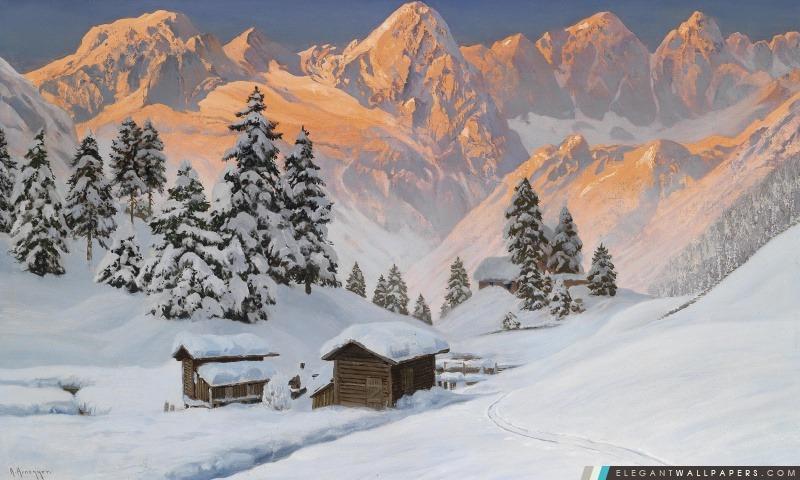 Montagne hiver Peinture, Arrière-plans HD à télécharger
