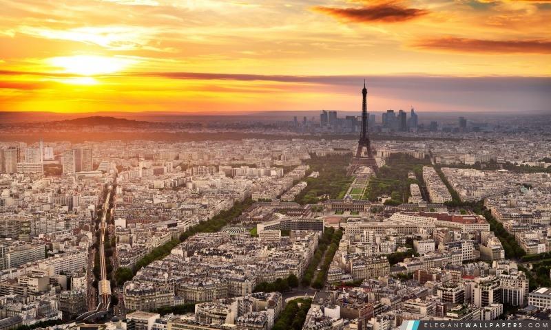 Paris Panorama Sunset, Arrière-plans HD à télécharger