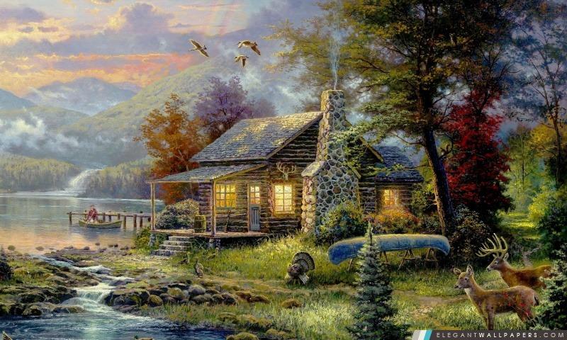 Natures Paradise par Thomas Kinkade, Arrière-plans HD à télécharger