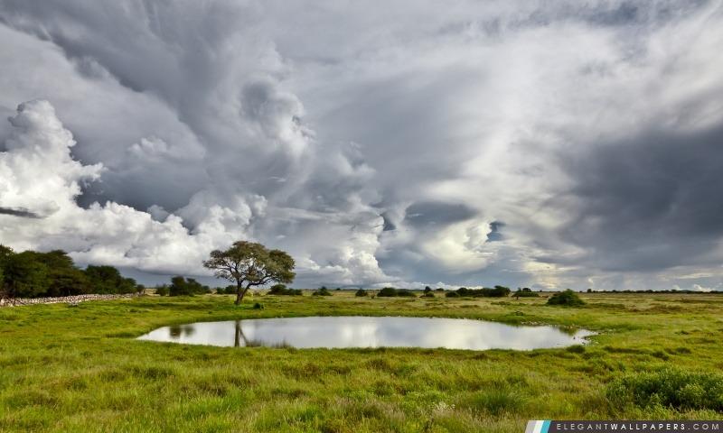 Étang et les nuages, Arrière-plans HD à télécharger