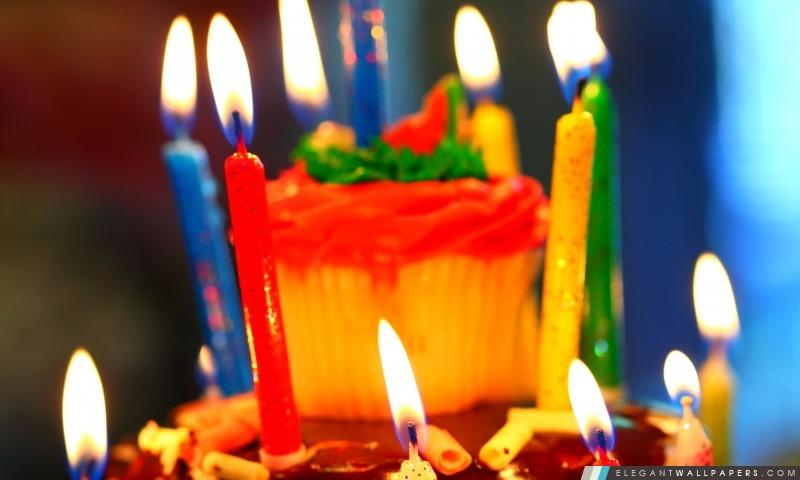 Gâteau d'anniversaire et bougies, Arrière-plans HD à télécharger