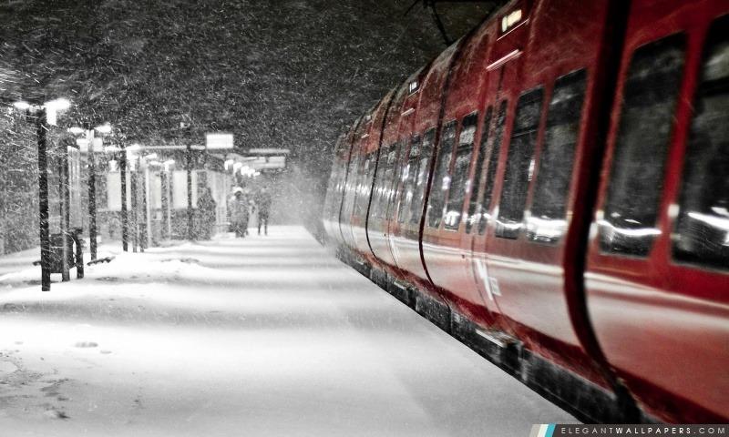 Train Rouge, Hiver, Arrière-plans HD à télécharger
