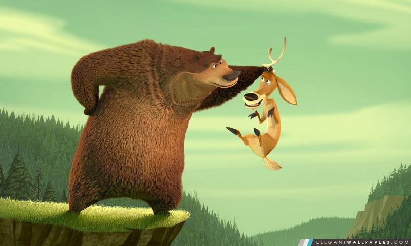 Martin Lawrence Comme Boog Le grizzli et Ashton Kutcher Comme Elliot Le Cornu cerf mulet En Open Season de Columbia, Arrière-plans HD à télécharger