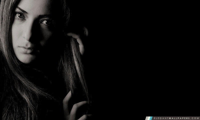 Fille en noir et blanc Photo, Arrière-plans HD à télécharger