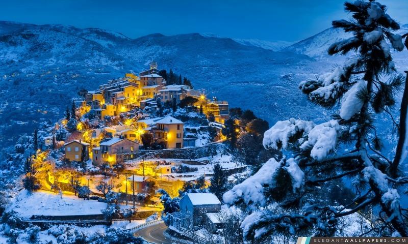 Beau Village de Noël, Arrière-plans HD à télécharger