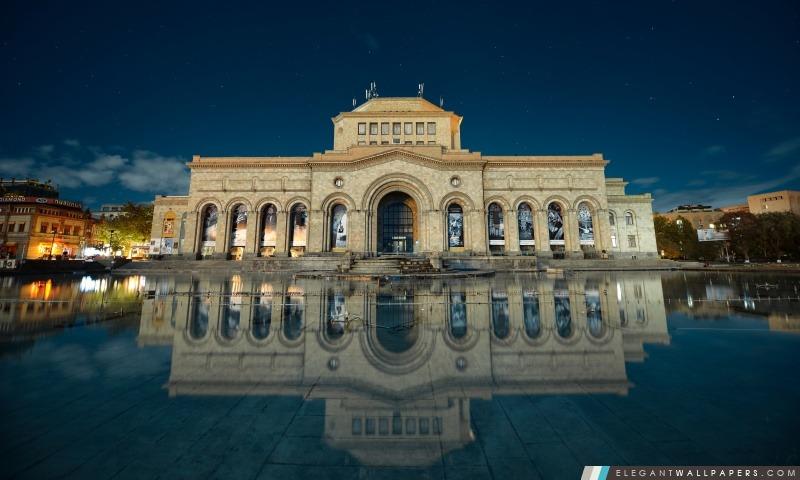 Réflexion Arménie, Erevan, Bâtiment dans l'eau, Hayk Barseghyans, Arrière-plans HD à télécharger