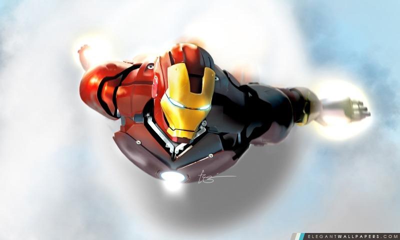 Iron Man en vol, Arrière-plans HD à télécharger