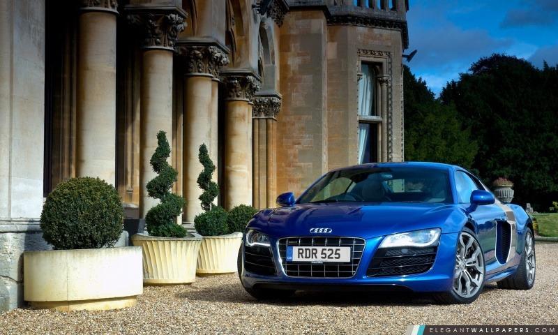 Audi R8 V10 bleu, Arrière-plans HD à télécharger
