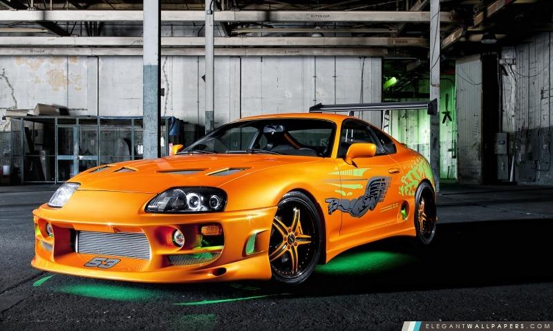 Orange Toyota Supra Neon, Arrière-plans HD à télécharger