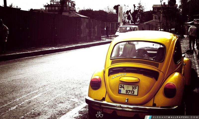 Volkswagen Beetle jaune, Arrière-plans HD à télécharger