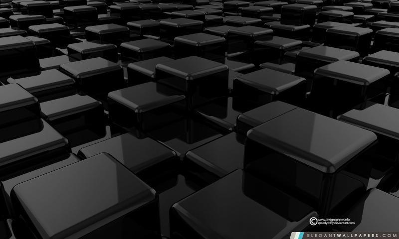 Cubes 3D Noir, Arrière-plans HD à télécharger