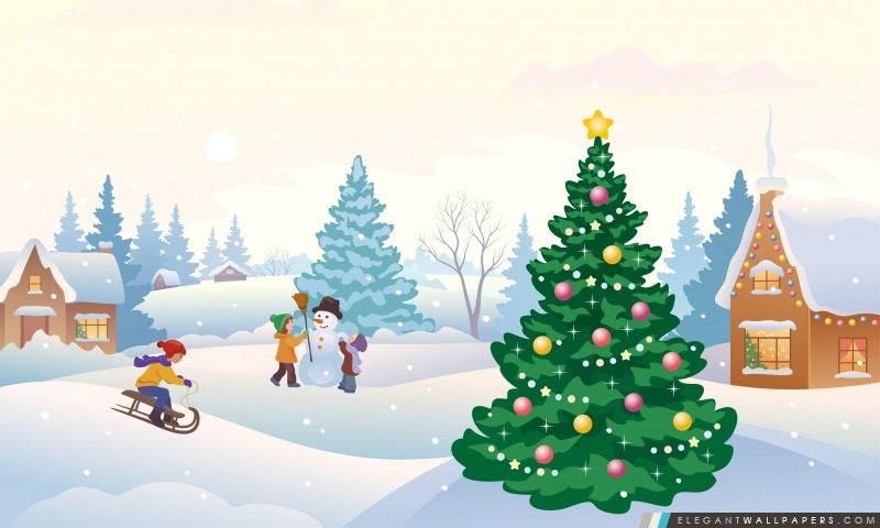 Scène d'hiver Illustration, Arrière-plans HD à télécharger