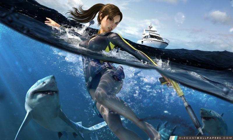 Tomb Raider Underworld Lara Croft Nager Avec Les Requins