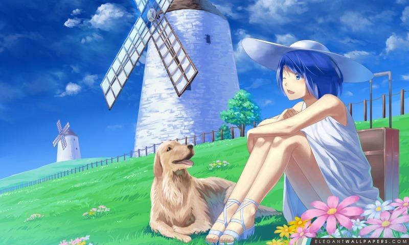 Anime Girl avec son chien Pet, Arrière-plans HD à télécharger