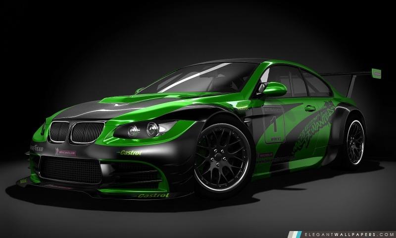 Noir et vert Tuned BMW, Arrière-plans HD à télécharger