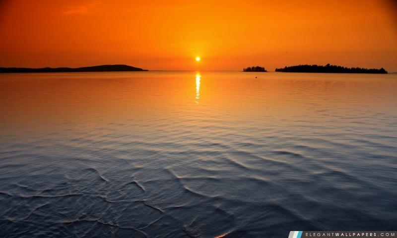 Orange Horizon Sunset, Arrière-plans HD à télécharger