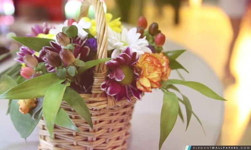 Panier avec des fleurs, Arrière-plans HD à télécharger