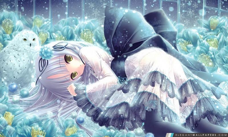 Anime Girl Et Hibou, Arrière-plans HD à télécharger