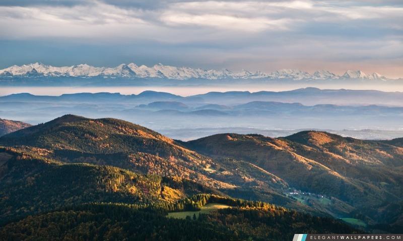 Les chaînes de montagnes d'automne, Arrière-plans HD à télécharger