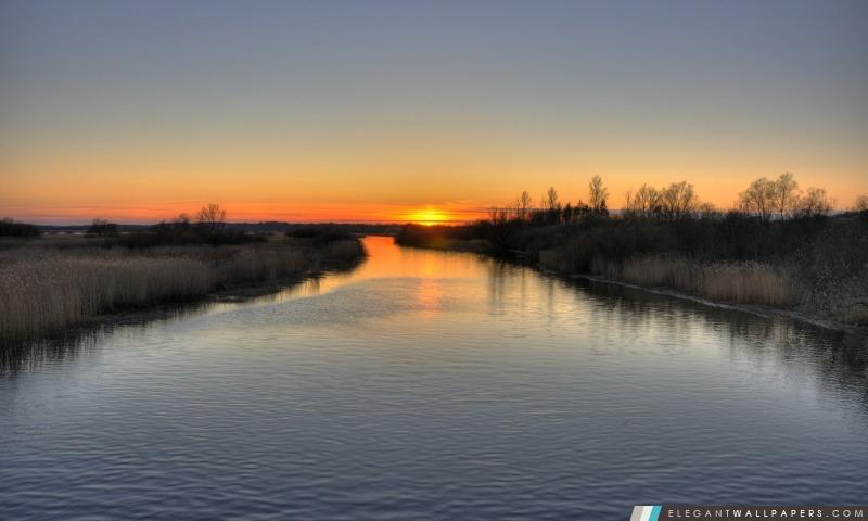 Coucher de soleil sur la rivière, Arrière-plans HD à télécharger