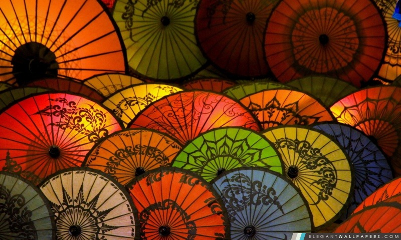 Parapluies japonais, Arrière-plans HD à télécharger
