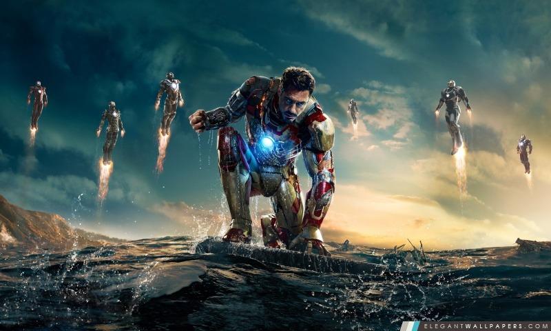 Iron Man 3 Iron Man vs Mandarin, Arrière-plans HD à télécharger