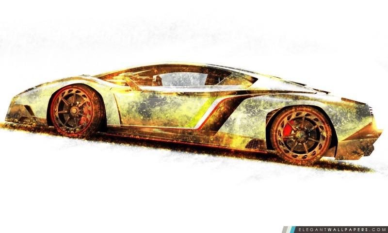Lamborghini Veneno Gold Edition, Arrière-plans HD à télécharger