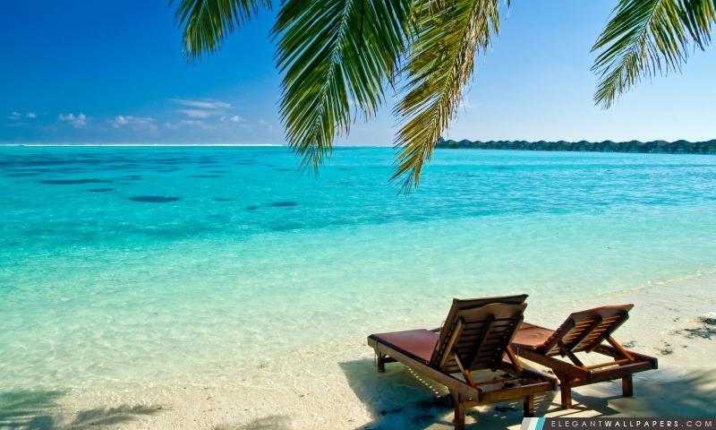 Chaises longues sur la plage, Arrière-plans HD à télécharger