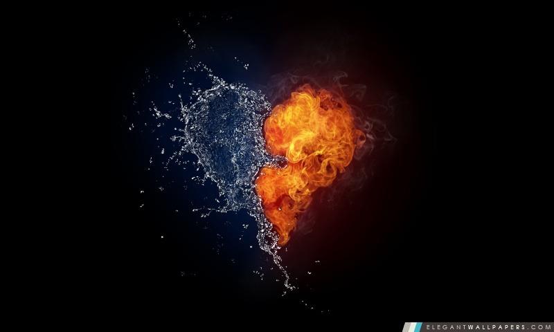 Eau Et Coeur Flames, Arrière-plans HD à télécharger