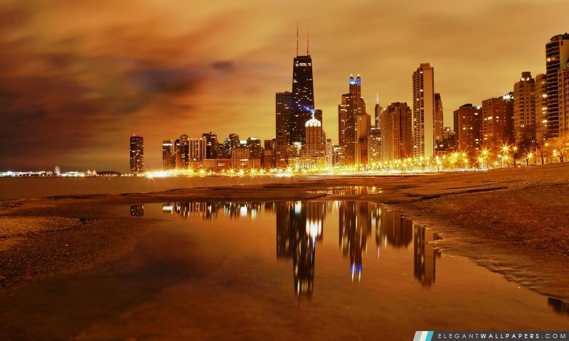 Chicago tard le soir, Arrière-plans HD à télécharger