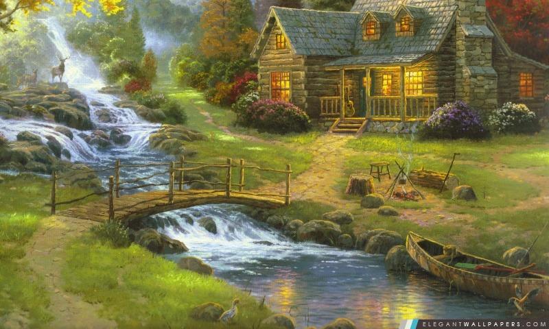 Mountain Paradise par Thomas Kinkade, Arrière-plans HD à télécharger