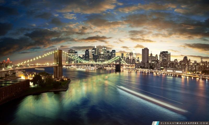 New York City, Brooklyn Bridge View, Arrière-plans HD à télécharger