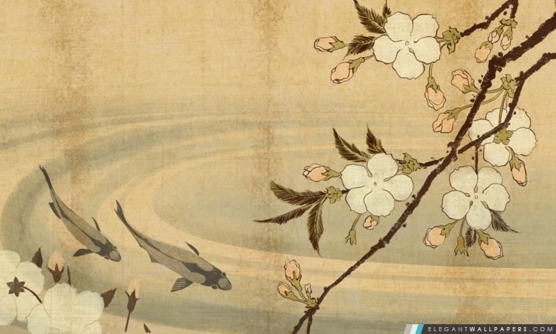 Carpe japonaise Art, Arrière-plans HD à télécharger