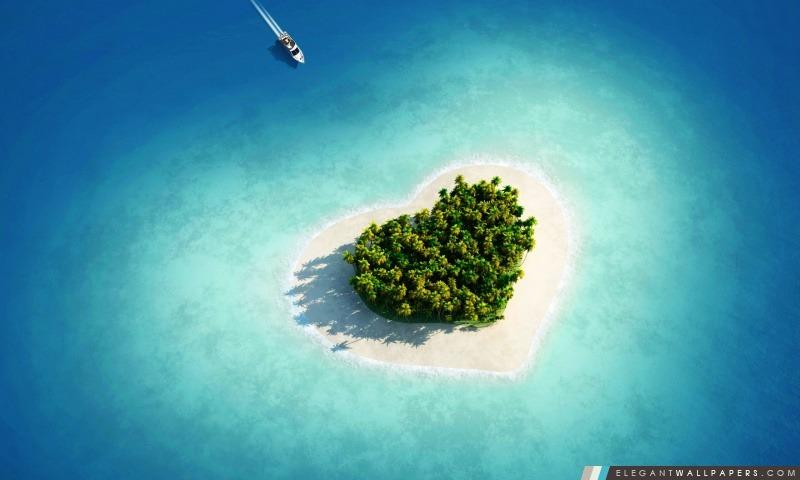 Vue aérienne de Heart-Shaped Tropical Island, Arrière-plans HD à télécharger