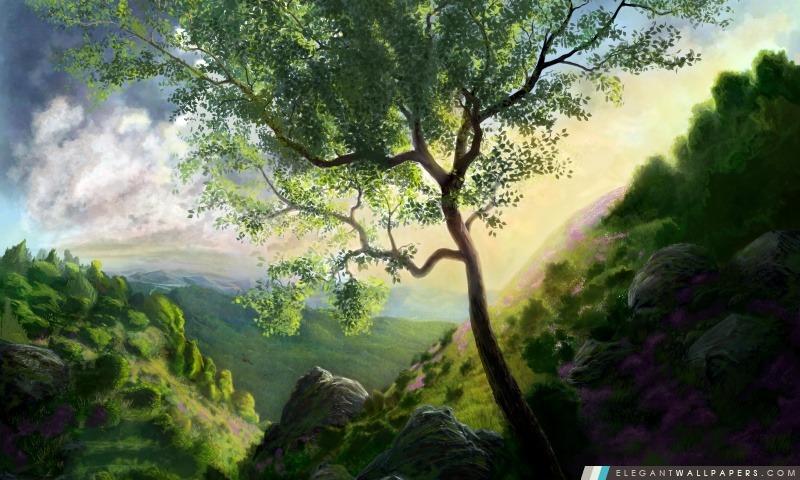 Paysage de montagne Peinture, Arrière-plans HD à télécharger
