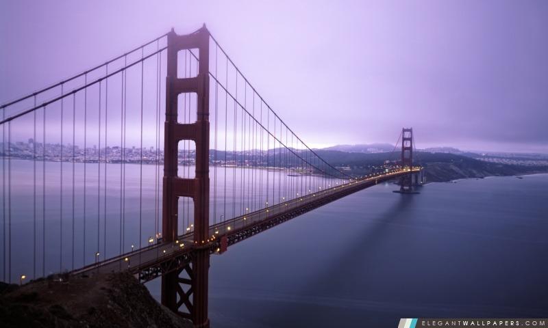 Violet Hour Et Brouillard Surround Le Golden Gate, Arrière-plans HD à télécharger