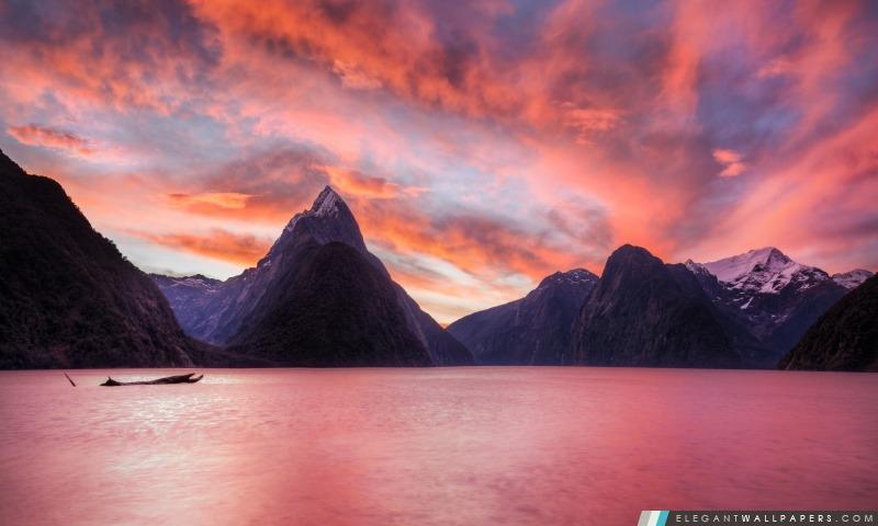 Coucher du soleil dans Milford Sound, Arrière-plans HD à télécharger