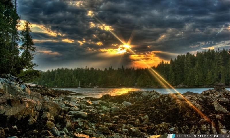 Rayons de soleil à travers les nuages, Arrière-plans HD à télécharger