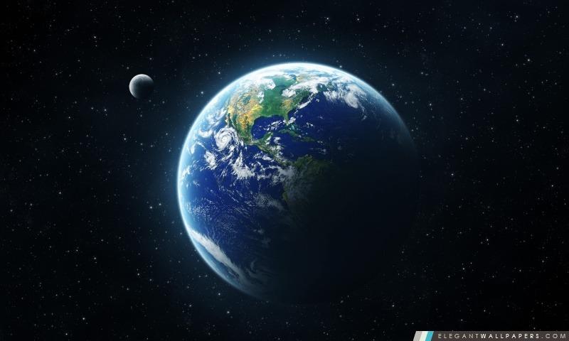 Terre Et La Lune De L Espace Fond D Ecran Hd A Telecharger