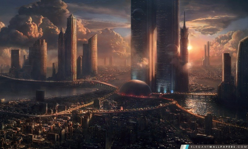 Paysage Urbain Futuriste Fond D Ecran Hd A Telecharger