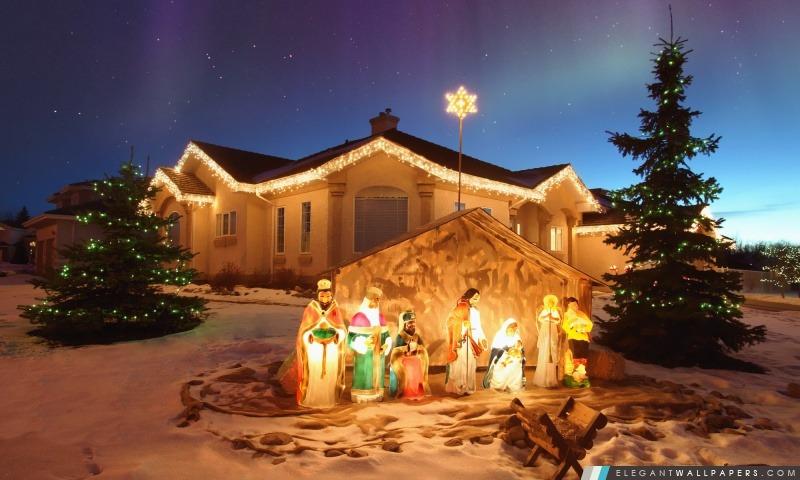 Crèche de Noël en plein air. Fond d'écran HD à télécharger