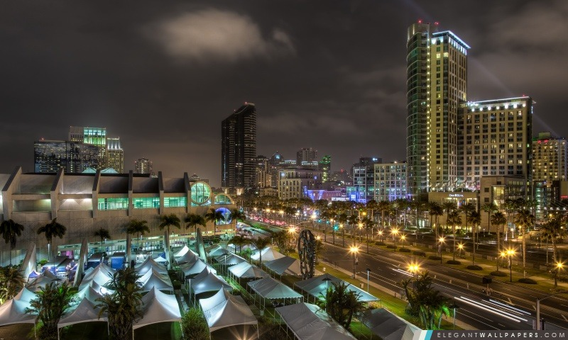 Centre-ville de San Diego la nuit, Arrière-plans HD à télécharger