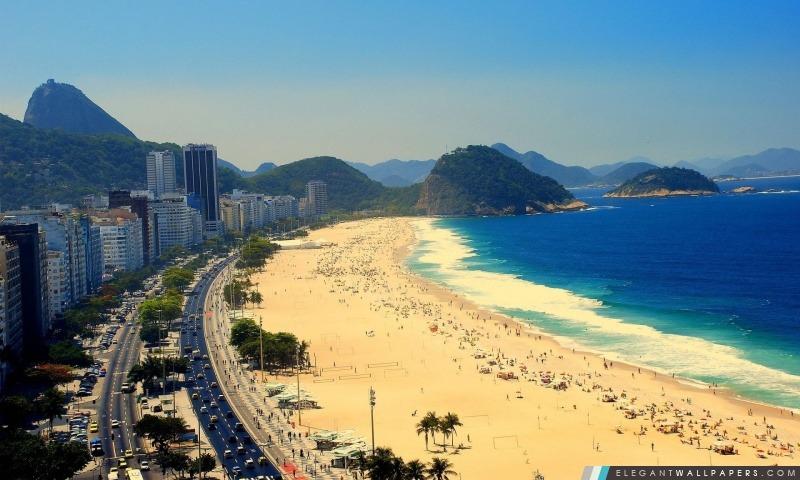 La plage de Copacabana, Vue aérienne de Rio de Janeiro, Brésil, Arrière-plans HD à télécharger