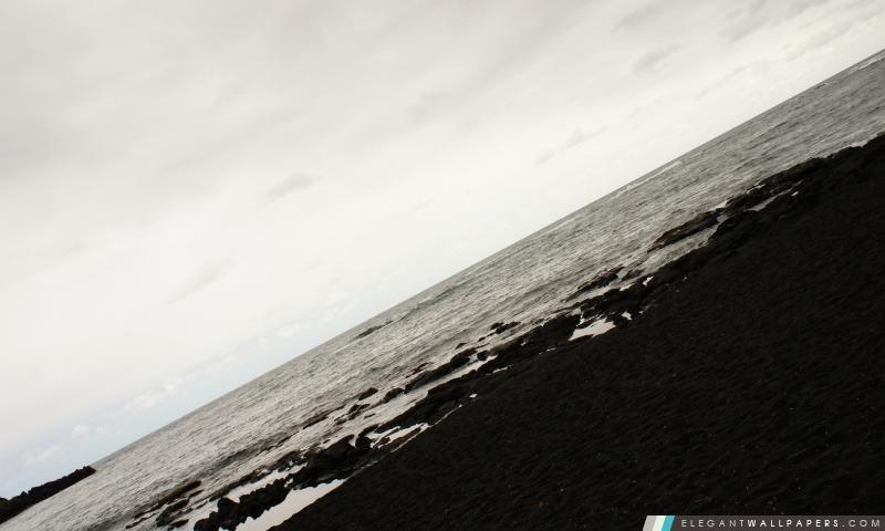 Plage de sable noir, Hawaii, Arrière-plans HD à télécharger