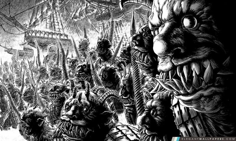monstres de dessin en noir et blanc  fond d u0026 39  u00e9cran hd  u00e0 t u00e9l u00e9charger