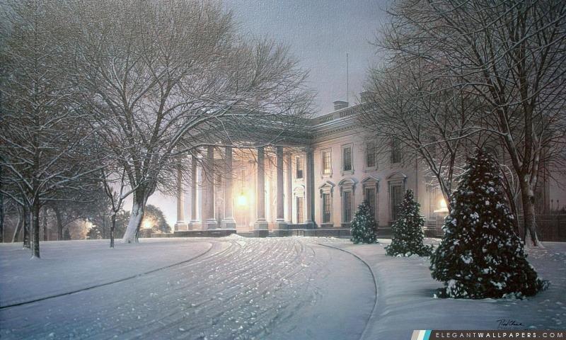 Maison Blanche Hiver Peinture Fond Décran Hd à Télécharger