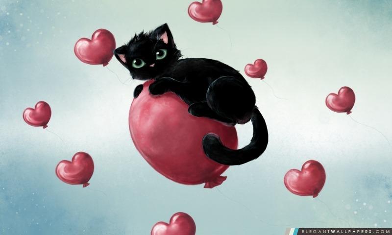 Cute Kitty Flotter sur ballons de coeur, Arrière-plans HD à télécharger