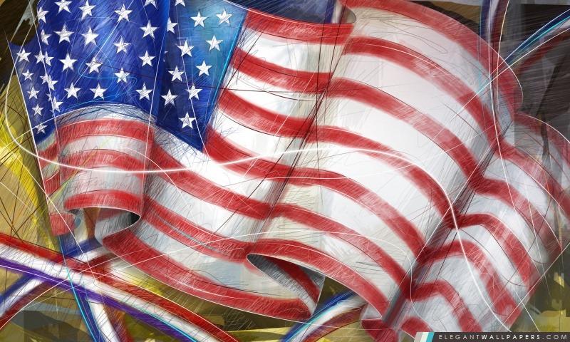 Drapeau américain, Jour de l'Indépendance, Arrière-plans HD à télécharger
