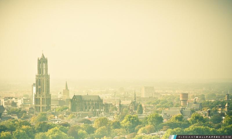 Hazy Utrecht, vue de la conclusion plat, Arrière-plans HD à télécharger