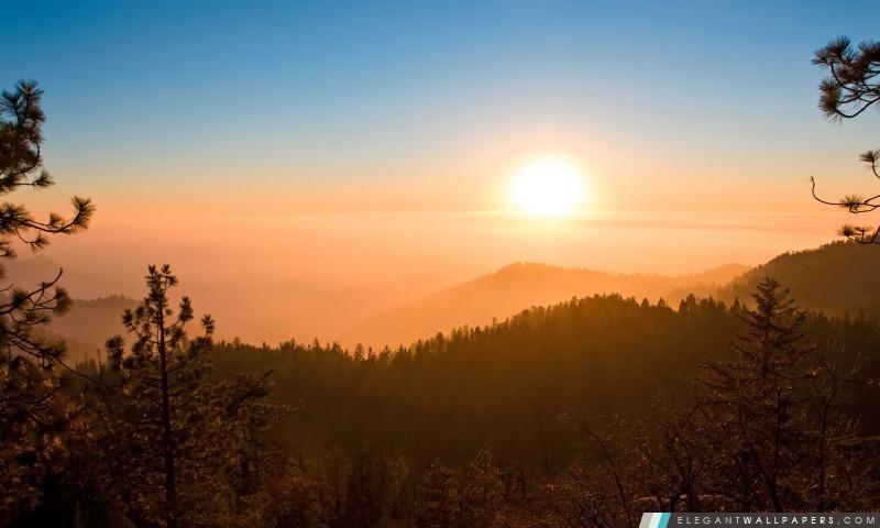 Foggy coucher du soleil, Arrière-plans HD à télécharger